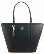 DKNY Black Leather Shoulder Tote Bag