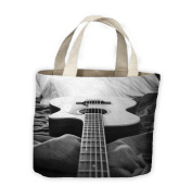 Acoustic Guitar Black and White Tote Shopping Bag For Life