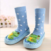 Bebedou PALE BLUE SOCKS WITH GREEN SOCKS socks 12 to 18 months Baby Toddlers Kids Comfy Indoor Slippers Shoes Socks Moccasins NON SKID Indoor Shoes Socks Durable Multifunctional slip baby booties breathable toddler elastic, boys girls warm and thick so ..