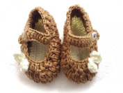 BB. 115 - Size 20 - beige brown - handmade crochet Bow Booties Baby Shoes 12-15 Months