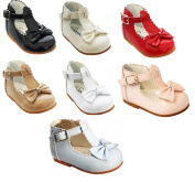 Sevva Sally Baby Infant Girls Spanish Style Non Slip Patent First Walking Shoes + Bow White Black Cream Red Pink Camel Blue