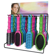 Kane Bamboo Counter Display 24 Coloured Hair Brushes