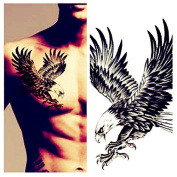 LZC 12x19cm Temporary tattoo Shoulder Arm Stickers waterproof Fashion Party Body Art Man Woman Multi Coloured Black - Eagle