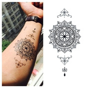 LZC 12x19cm Temporary tattoo Shoulder Arm Stickers waterproof Fashion Party Body Art Man Woman Multi Coloured Black - Mandala