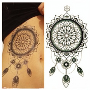 LZC 12x19cm Temporary tattoo Shoulder Arm Stickers waterproof Fashion Party Body Art Man Woman Multi Coloured Black - Dream catcher Indian