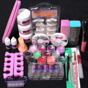 Ularma 24 in 1 Acrylic Nail Art Tips Liquid Buffer Glitter Deco Tools Full Kit Set