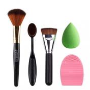 Tonsee 5pcs Makeup Brush Makeup Sponge Makeup Brush Cleaner Foundation Brush