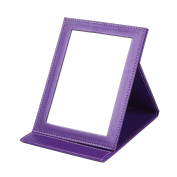 Rnow Deluxe PU Leather Desktop Large Makeup Cosmetics Personal Beauty Folding Mirrors Purple