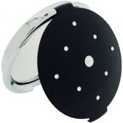 Compact Mirror Black Stunning Round Travel Mirror 7X Magnification With Crystallised. Elements SC1318