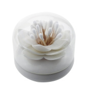 White Lotus Shape Cotton Swab Holder Cotton Bud Toothpicks Storage Organiser Case Box for Bathroom
