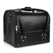 Amzdeal Black Beauty PU Leather Cosmetic Make up Vanity Case/Box