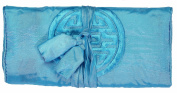 Sky Blue Embroidered Silk Make Up Bag/ Wrap /Jewellery Roll