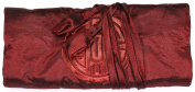 Dark Red/ Brown Embroidered Silk Make Up Bag/ Wrap /Jewellery Roll