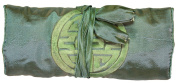 Grey/ Green Embroidered Silk Make Up Bag/ Wrap /Jewellery Roll