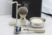 Shaving Kit Gift for Men(Gillette Fusion Razor,Brush,Bowl,Stand)Branded Box