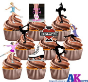 Ice Skating Pack Cake Decorations - 36 Edible Stand-up Cupcake Toppers