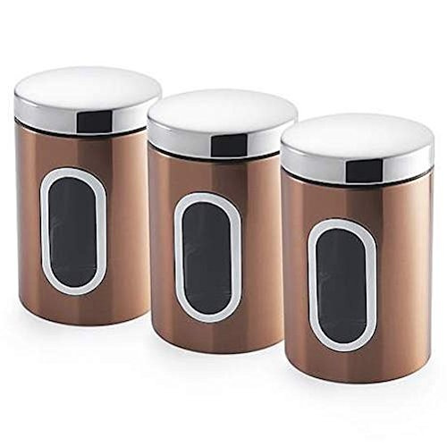 Set of 3 bronze copper colour stainless steel kitchen for Kitchen set colour
