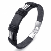 TEMEGO Jewellery Mens Leather Bracelet, Tribal Rope Braided Cuff Bangle, Black Silver