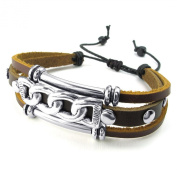TEMEGO Jewellery Mens Womens Leather Bracelet, Tribal Charm Cuff Bangle, Fits 7-23cm , Brown Silver