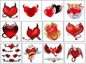Devils Heart Temporary Tattoos