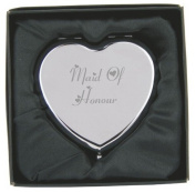 Engraved Maid of Honour Heart Compact Hand Mirror with Gift Box!