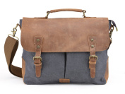 Gootium 21108GRY Canvas Messenger Bag For 36cm Laptop With Genuine Leather Trim