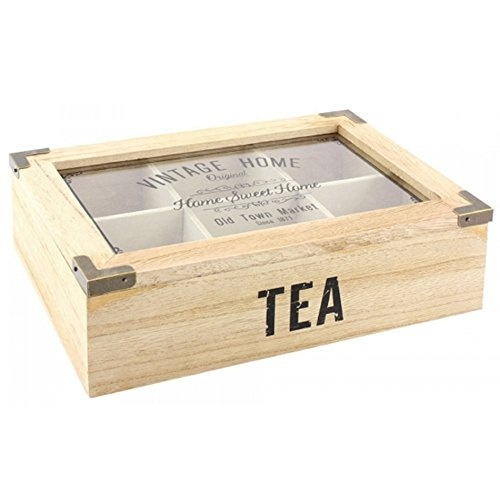 kitchen storage lid gift tea bag holder box organiser 6 compartment glass new f ebay. Black Bedroom Furniture Sets. Home Design Ideas