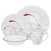 Corelle 16-Piece Vitrelle Glass Splendour Round Chip and Break Resistant Dinner Set, Service for 4, Red/ Grey