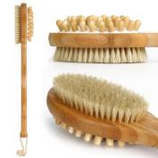 Esarora Bamboo Durable Dual Head Bath Body Brush - Natural Bristles Shower Brush with Long Bamboo Handle
