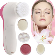 5 in 1 Multi-Function Electric Facial Skin Care Purifying Cleansing Soft Brush Face Massager Scrubber Exfoliator Blackhead Removal Beauty Skin Care