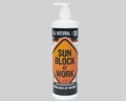 Sun Block at Work spf30 in 470ml units with a pump top dispenser