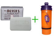 Best Mrs. Meyers Clean Day, Daily Bar Soap, Lavender Scent, 160ml (150 g)(5 PACK ), Now Foods, 3 in 1 Sports Shaker Bottle, 740ml BUNDLE