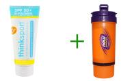 Best Think, Thinksport, Sunscreen, SPF 50+, For Kids, 6 fl oz (177 ml), Now Foods, 3 in 1 Sports Shaker Bottle, 25 oz BUNDLE