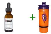 Best Life Extension, Collagen Boosting Peptide Serum, 30ml, Now Foods, 3 in 1 Sports Shaker Bottle, 740ml BUNDLE