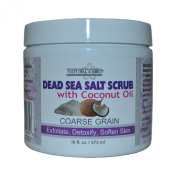 Natural Brio Pure Coarse Grain Dead Sea Salt Body Scrub with Unscented Coconut Oil for Skin Care, 470ml
