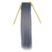 Stepupgirl 50cm Light Granny Grey Colour Straight Synthetic Ponytail with Souvenir Card