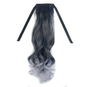 Stepupgirl 50cm Black to Light Granny Grey Colour Curly Synthetic Ponytail with Souvenir Card