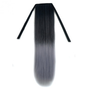 Stepupgirl 50cm Black to Light Granny Grey Colour Straight Synthetic Ponytail with Souvenir Card