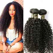 Uneed Hair 3 Bundles Brazilian Curly Virgin Hair Weave Unprocessed Human Hair Extensions Natural Colour Can Be Dyed and Bleached Tangle Free