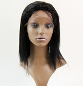 Full Lace Wigs 25cm malaysian Hair Free Part Human Hair Wig Natural Straight #1 Trademark:hairpr