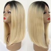 PlatinumHair 1b & #613 ombre bob straight wigs synthetic lace front wigs glueless lace front wigs for black women 36cm - 46cm