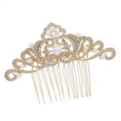 Smile Rhinestoneystals HairJewelry Gold Flower Hair b Bridal HairpinsR