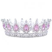 FUMUD 5.1cm Height Rhinestone Crystal Bridal Wedding Pageant Princess Tiara Crown - Clear Crystals Silver Plating