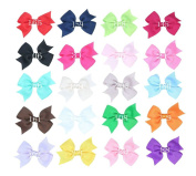Zcoins 20pcs 7.6cm Small Hair Clips Flat Grosgrain Ribbon Bows Mixed in Bright Colours for Baby Girl Headband Hat