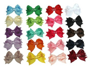 Zcoins 20pcs 8.9cm Boutique Spike Hair Bows Girls Kids Children Alligator Clip Grosgrain Ribbon Headbands 20 Colour