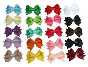 Zcoins 20pcs 8.9cm Boutique Spike Hair Bows Girls Kids Children Alligator Clip Grosgrain Ribbon Headbands 20 Colour
