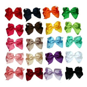 Zcoins 20pcs Grosgrain Ribbon Boutique Chunky Hair Bows Alligator Clips for Toddler Baby Girls