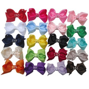 Zcoins 20pcs 6.4cm Toddlers Baby Small Boutique Chunky Ribbon Bows on Alligator Clips for Photography Daily Hair Extension