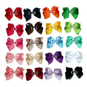 Zcoins Pick 10pcs 8.9cm Grosgrain Ribbon Boutique Chunky Hair Bows on Lined Alligator Clips for Toddler Baby Girls