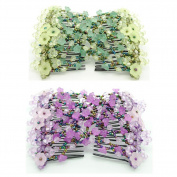 Casualfashion 2 Pcs Beautiful Women's Hair Combs Double Clips, Easy Stretch Morning Glory Flower Hair Comb Accessories Comb